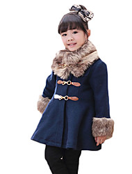 Girl's Casual/Daily Solid Down & Cotton Padded,Wool Winter Blue / Brown / Red