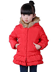 Girl's Cotton Spring/Fall/Winter Sweet Fashion Casual/Daily Fur Trim Long Sleeves Ruffle Round Bottom Padded Coat