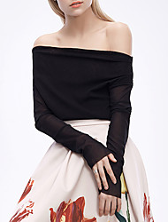 CHOCOLATONE Casual/Daily Sexy Spring / Summer ShirtSolid Off Shoulder Long Sleeve Black Others Sheer
