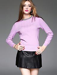Damen Standard Pullover-Ausgehen / Lässig/Alltäglich Einfach / Street Schick Solide Blau / Weiß / Lila Rundhalsausschnitt Langarm