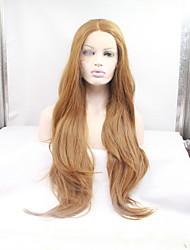 sylvia synthétique dentelle devant perruque fraise résistante longue vague natual chaleur blonds perruques synthétiques