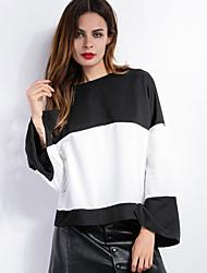 Damen Gestreift Einfach / Street Schick Lässig/Alltäglich T-shirt,Rundhalsausschnitt Frühling / Herbst Langarm Schwarz Polyester Mittel