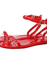 Черный / Красный / Белый-Женский-Для прогулок-ПВХ-На плоской подошве-Удобная обувь-Сандалии