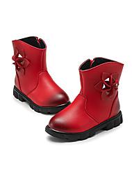 Para Niña-Tacón Plano-Confort Botas a la Moda-Botas-Vestido Informal-PU-Negro Rosa Rojo