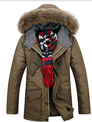 Men's Regular Down Coat,Simple Casual/Daily Solid-Polyester White Duck Down Long Sleeve Hooded Black / Brown / Green