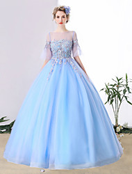 Ball Gown Jewel Neck Chapel Train Tulle Formal Evening Dress with Crystal Detailing Lace