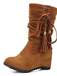 Women's Shoes Wedge Heel Round Rivets Tassel Ruffles Lace Up Mid Calf Boot More Color Available