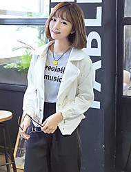 Women's Casual/Daily Simple Denim Jackets,Solid Long Sleeve Fall / Winter White Cotton Medium