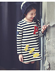 Girl's Casual/Daily Striped DressCotton Winter / Fall White