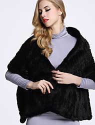 BF-Fur Style Women's Casual/Daily Sophisticated Fur CoatSolid V Neck  Sleeve Winter Black / Gray Others