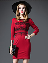 GATHER BEAUTY Women's Going out Simple Sheath DressEmbroidered Round Neck Above Knee  Sleeve Red / Black Cotton / Rayon Fall High Rise Inelastic