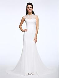 Lanting Bride® A-line Wedding Dress Court Train Jewel Chiffon / Lace with Appliques