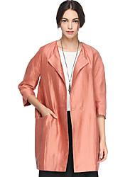 Trench Femme,Couleur Pleine Sortie simple Manches Longues Col de Chemise Orange Lin / Nylon Opaque Automne