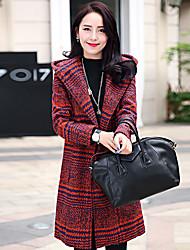 Cappotto Da donna Casual Semplice,A quadri Lana / Poliestere Rosso Manica lunga