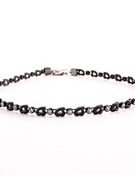 Black Tatoo Unique Punk Style Single Row Hollow Heart Crystal Choker Necklace for Women