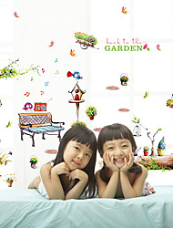 Cartoon Park Animals With Botanical Wall Stickers DIY Fashion Children's Bedroom Living Room Wall Decals