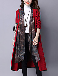 Women's Casual/Daily Vintage Coat Lace Splice Square Neck False Two Long Sleeve Fall /Winter Red / Gray / Black Cotton