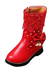 Chica Zapatos Semicuero Primavera Otoño Invierno Confort Botas de nieve Botas Paseo Tacón Bajo Dedo redondo Cremallera Para Casual Negro