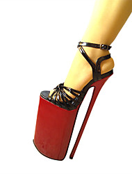 Черный Золотистый-Женский-Для вечеринки / ужина-Полиуретан-На шпильке На платформе-На платформе-Обувь на каблуках