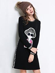 Courte Robe Femme Sortie / Décontracté / Quotidien / Grandes Tailles simple / Mignon / Chic de Rue,Couleur Pleine / Mosaïque Col Arrondi
