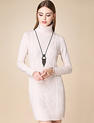 Women's Casual/Daily Simple Sweater Dress,Solid Turtleneck Above Knee Long Sleeve Pink Cotton Winter High Rise Micro-elastic Medium