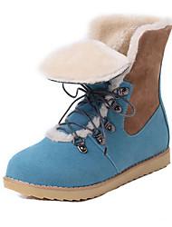Feminino-Botas-Conforto-Salto Baixo-Azul-Camurça-Escritório & Trabalho / Social / Casual