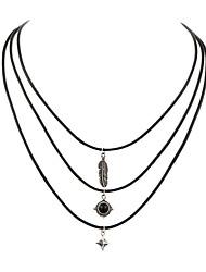 3pcs/set Women's Fashion Luxury European Vintage Feather Sun Star Pendant Choker Necklace for Women