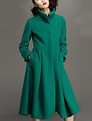CHOCOLATONE Women's Casual/Daily Simple CoatSolid Turtleneck Long Sleeve Fall / Winter Green Wool Medium