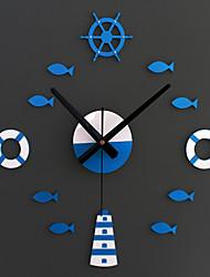 Moderne/Contemporain Animaux / Vacances / Inspiré / Famille / Dessin animé Horloge murale,Rond / Nouveauté Acrylique / Verre