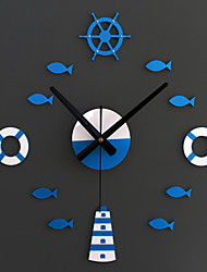 New Creative Fashion Eastern Mediterranean-style DIY Rudder Tower Preserver When Small Fish Clock DIY Wall Clock