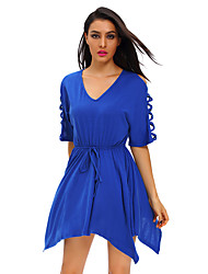 Women's Royal Blue Lace Up Half Sleeves Irregular Skater Dress