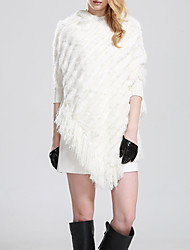 Women's Casual/Daily Simple Long Cloak / Capes,Solid White Round Neck ½ Length Sleeve Rabbit Fur / Faux Fur Fall / Winter Medium