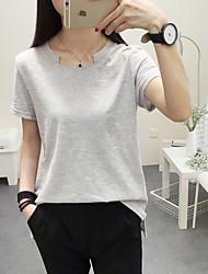 Tee-shirt Femme,Couleur Pleine Sortie simple Eté Manches Courtes Col Arrondi Multi-couleur Coton Fin