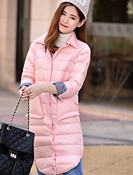 Women's Long Down Coat,Simple Casual/Daily Solid-Polyester White Duck Down Long Sleeve Pink / Beige