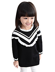 Girl's Cotton Spring/Fall Fashion Casual/Daily Preppy Style Ruffle Number Print Long Sleeve Princess Dress Skirt