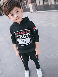 Boy's Sports Print Clothing SetCotton Fall Black