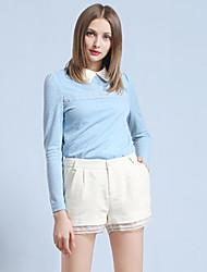 Mulheres Calças Simples Shorts Lã / Acrílico / Poliéster Micro-Elástica Mulheres