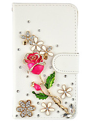 Diamond Crystal Jewel Rose PU Leather Case With Card Slots and Magnetic Closure For Samsung Galaxy Note5 Note4 Note3