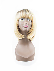 Hot Style Brown Mixed BlondeTwo Tones Natual Bob Hair Style With Straight Bangs Synthetic Capless Wigs