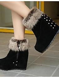 Women's Boots Comfort PU Casual Comfort Black Burgundy 2in-2 3/4in