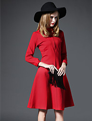GATHER BEAUTY Women's Going out Simple A Line DressSolid Round Neck Knee-length Long Sleeve Red Polyester Fall High Rise Inelastic Medium