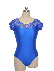 Ballet Leotards Training Nylon Lace Lycra Lace 1 Piece Short Sleeve Leotard