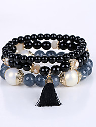 Fashion Small Fresh Tassel Bracelet Bohemia Sweet Beaded Stretch Bracelet Multilayer Multilayer