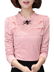 Fall Spring Women's Go out Slim Was Thin Solid Color Patchwork Stand Long Sleeve Lace Blouse
