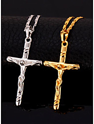 Necklace Gold Plated Pendant Necklace Birthday Christmas Gifts For Men Stainless Steel Antique Cross Crucifix Jewelry