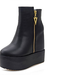 Women's Boots Fall Platform PU Casual Platform Black