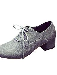 Women's Oxfords Fall Comfort PU Casual Low Heel Lace-up Black / Gray Walking