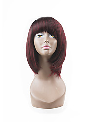 Hot Style Dark Red Wine Natual Bob Hair Style With Straight Bangs Synthetic Capless Wigs
