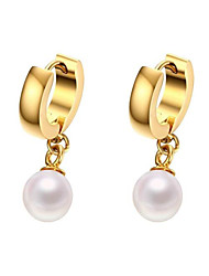 18K gold plated titanium pearl earrings 8mm