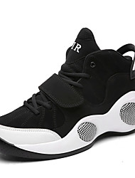 Basketball Shoes Men's Athletic Shoes Spring Fall Comfort PU Casual Flat Heel Lace-up White Black and Red Black and White